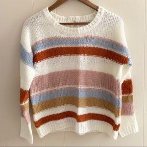 Multicolored Hippie Rose Crewneck Striped Sweater